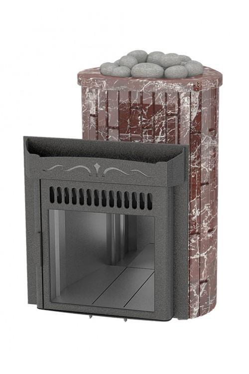 Оптима 'До 23 м³' - Облицовка 'Россо Леванте' - Обрамление 'Камень'